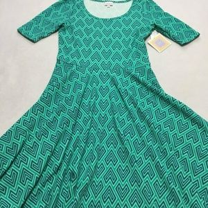 Lularoe Mint Chevron Geo Heart Nicole Dress XL